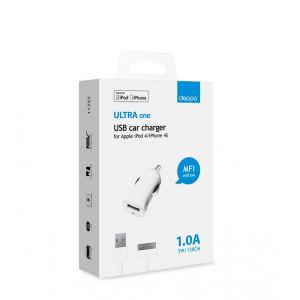 Автомобильное зарядное устройство для Apple (30 pin MFI) - 1A - White - Deppa | Фото 2