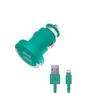 Автомобильное зарядное устройство для Apple с 2мя USB выходами (Lightning MFI) - 2.1A - Green - Deppa | Фото 1