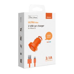 Автомобильное зарядное устройство для Apple с 2мя USB выходами (Lightning MFI) - 2.1A - Orange - Deppa | Фото 2