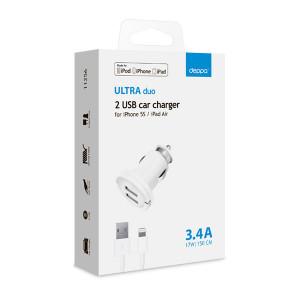 Автомобильное зарядное устройство для Apple с 2мя USB выходами (Lightning MFI) - 3.4A - Black - Deppa | Фото 2