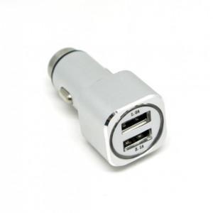 Универсальная автомобильная зарядка с 2-мя USB выходами Auzer ACC2  (2.1A) - Silver | Фото 1